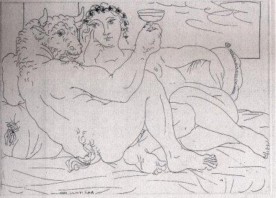 Picasso, Suite Vollard: minotauro tumbado con mujer.